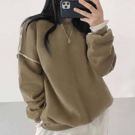 ドロップショルダーデザイントレーナー 韓国ファッション 春 夏 秋 韓国 トップス 春服 夏服 トレーナー (グレージュ)