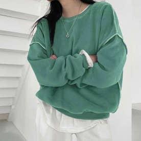 ドロップショルダーデザイントレーナー 韓国ファッション 春 夏 秋 韓国 トップス 春服 夏服 トレーナー (ミント)