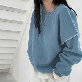 ドロップショルダーデザイントレーナー 韓国ファッション 春 夏 秋 韓国 トップス 春服 夏服 トレーナー (ブルー)