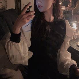 チェックドッキングワンピース 韓国ファッション (ブラック)