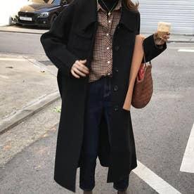 胸ポケットラージカラーロングコート (ブラック)