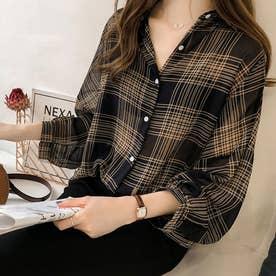 ボリュームスリーブチェックシアーシャツ 韓国ファッション (ブラック)