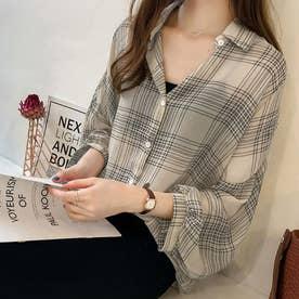ボリュームスリーブチェックシアーシャツ 韓国ファッション (クリーム)