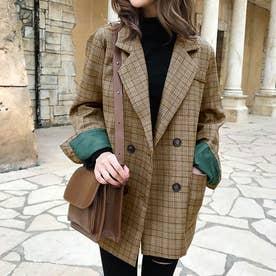 チェック柄テーラードジャケット 韓国ファッション (ブラウン)