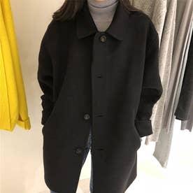 4Bハーフコート 韓国ファッション (ブラック)