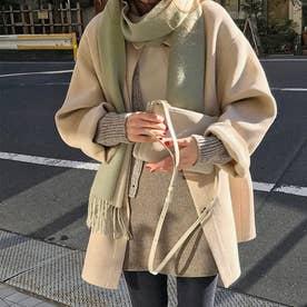 4Bハーフコート 韓国ファッション (アイボリー)