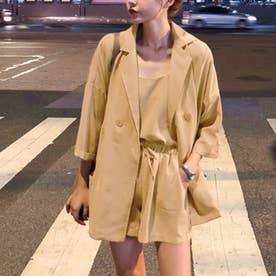 薄手7分袖シャツジャケット3点セットのセットアップ (ダークベージュ-ショート)