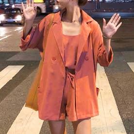 薄手7分袖シャツジャケット3点セットのセットアップ (テラコッタ-ショート)