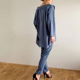 薄手7分袖シャツジャケット3点セットのセットアップ (ブルー-ロング)