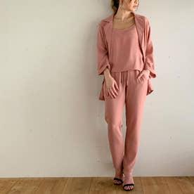 薄手7分袖シャツジャケット3点セットのセットアップ (ピンク-ロング)