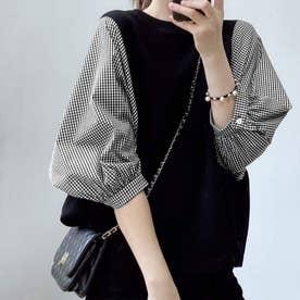 5分袖ドッキングブラウス 韓国ファッション (チェックブラック)