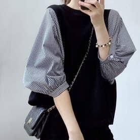 5分袖ドッキングブラウス 韓国ファッション (チェックネイビー)