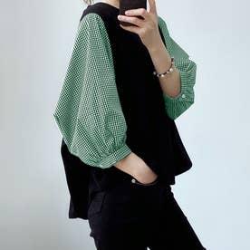 5分袖ドッキングブラウス 韓国ファッション (チェックグリーン)