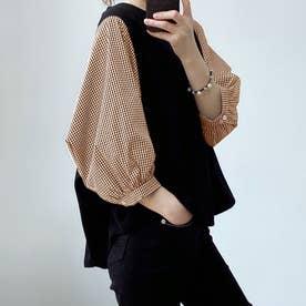 5分袖ドッキングブラウス 韓国ファッション (チェックブラウン)