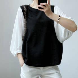 5分袖ドッキングブラウス 韓国ファッション (ブラック)