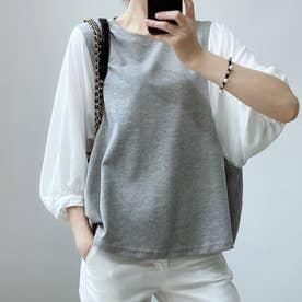 5分袖ドッキングブラウス 韓国ファッション (グレー)