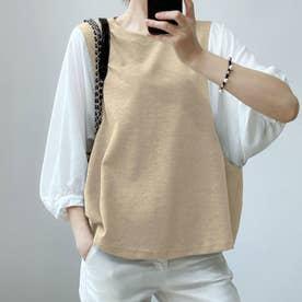 5分袖ドッキングブラウス 韓国ファッション (ベージュ)