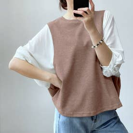 5分袖ドッキングブラウス 韓国ファッション (グレージュ)