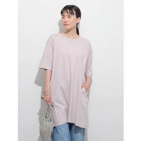バックタック半袖カットチュニック (ピンク)