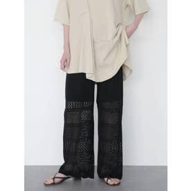 透かしレース編みワイドパンツ (ブラック)