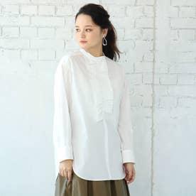 【手洗い可】ギャザーフリルバンドカラーシャツ (オフホワイト)
