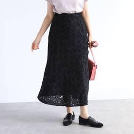 【手洗い可】バイアス使いカットジャガードナロースカート (ブラック)