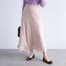 【手洗い可】バイアス使いカットジャガードナロースカート (ピンク)