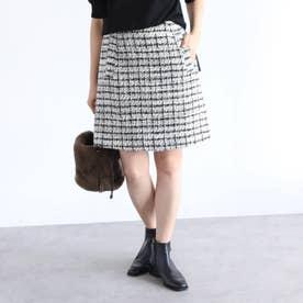 オリジナルファンシーツィードミニスカート (ブラック)