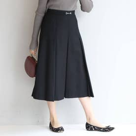 【SS-L】プリーツ ビット付きスカート (ブラック)