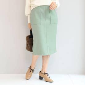 【Lサイズあり】ウール混ジャージタイトスカート (ライトグリーン)