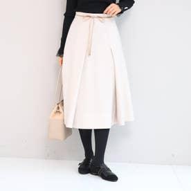 【SS-Lサイズあり】リボンベルト付きタックフレアースカート (アイボリー)