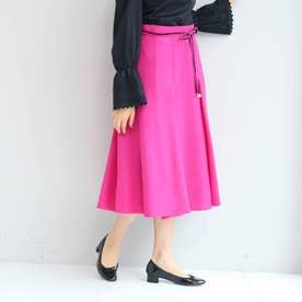【SS-Lサイズあり】リボンベルト付きタックフレアースカート (ピンク)
