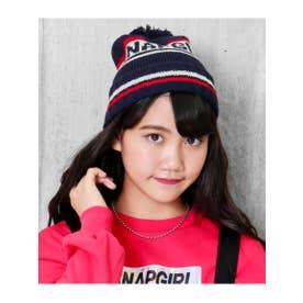 ライン配色ニット帽 (ネイビー(018))