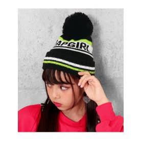 ライン配色ニット帽 (ブラック(027))