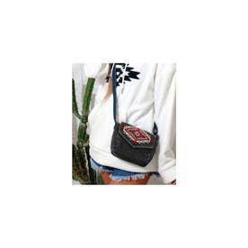 オルテガ刺繍デニムミニショルダーバッグ ブラック