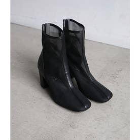 スクエアトゥーメッシュブーツ(ブラック)