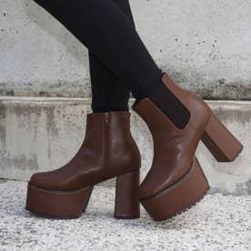サイドゴア厚底ブーツ(ブラウン)