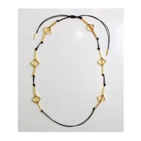 【CRUCE anap】 ゴールドモチーフ付ロープネックレス (ブラック(027))