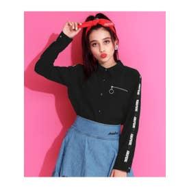 リングZIP付ジョーゼットシャツ (ブラック(027))