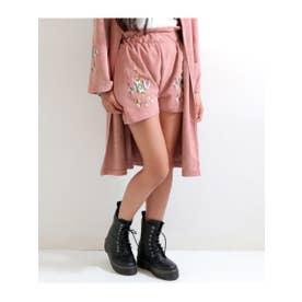 【GiRL】 フェイクスエード刺繍ショートパンツ (ピンク(008))