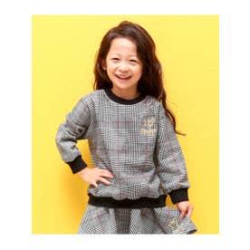 【KIDS】グレンチェックトレーナー (ブラック/ホワイト(051))