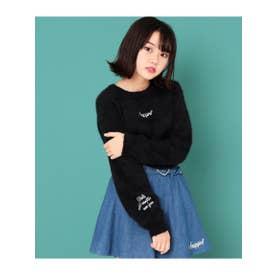 ネコシャギー刺繍ニット (ブラック(027))