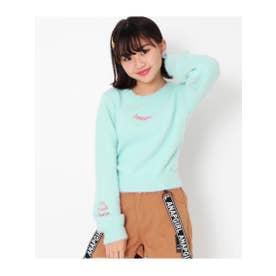 ネコシャギー刺繍ニット (ミント(041))
