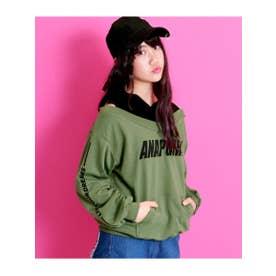【ANAPGiRL】袖プリントオフショルダーフーディートップス (カーキ(014))