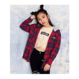 【ANAPGiRL】フード付チェックシャツ (レッド(025))