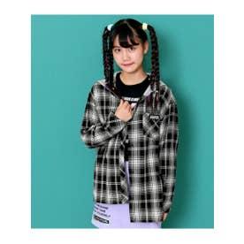 【ANAPGiRL】フード付チェックシャツ (ブラック(027))