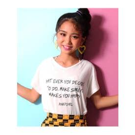 【GiRL】 両V手書きPTドルマンTシャツ (ホワイト(001))
