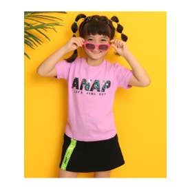 【ANAPKIDS】ホログラムロゴTシャツ (ピンク(008))