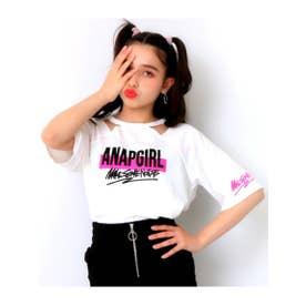 【GiRL】 両袖ロゴデザイントップス (ホワイト(001))