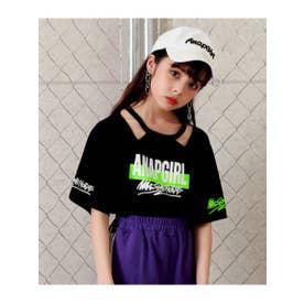 【GiRL】 両袖ロゴデザイントップス (ブラック(027))